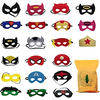 Forwin 21 Pièces Masque de Super-Héros Partie Masque de fête de Superman Superhero Parti Masques Cosplay Toy pour Les Enfants pour la Partie des Jouets pour Superman