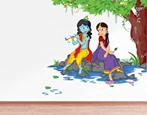 Rawpockets Decals 'Lord Krishna Playing Flute with Radha on River Bed' Wall Sticker - (PVC Vinyl, 80 cm x 80 cm, Multicolour)