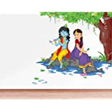 Rawpockets Decals 'Lord Krishna Playing Flute with Radha on River Bed' Wall Sticker - (PVC Vinyl, 80 cm x 80 cm…