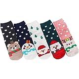 Petalum Lot de 5 Chaussettes Noël Adultes en Coton à Dessin Animé Doux Respirant Cadeau Hiver Automne
