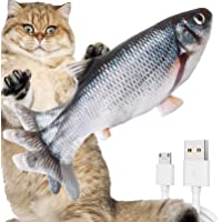FURIENIDE Katzenspielzeug Fisch, Katzenminze elektrische Puppe Fisch, Simulation Elektrisch Spielzeug Fisch mit USB…