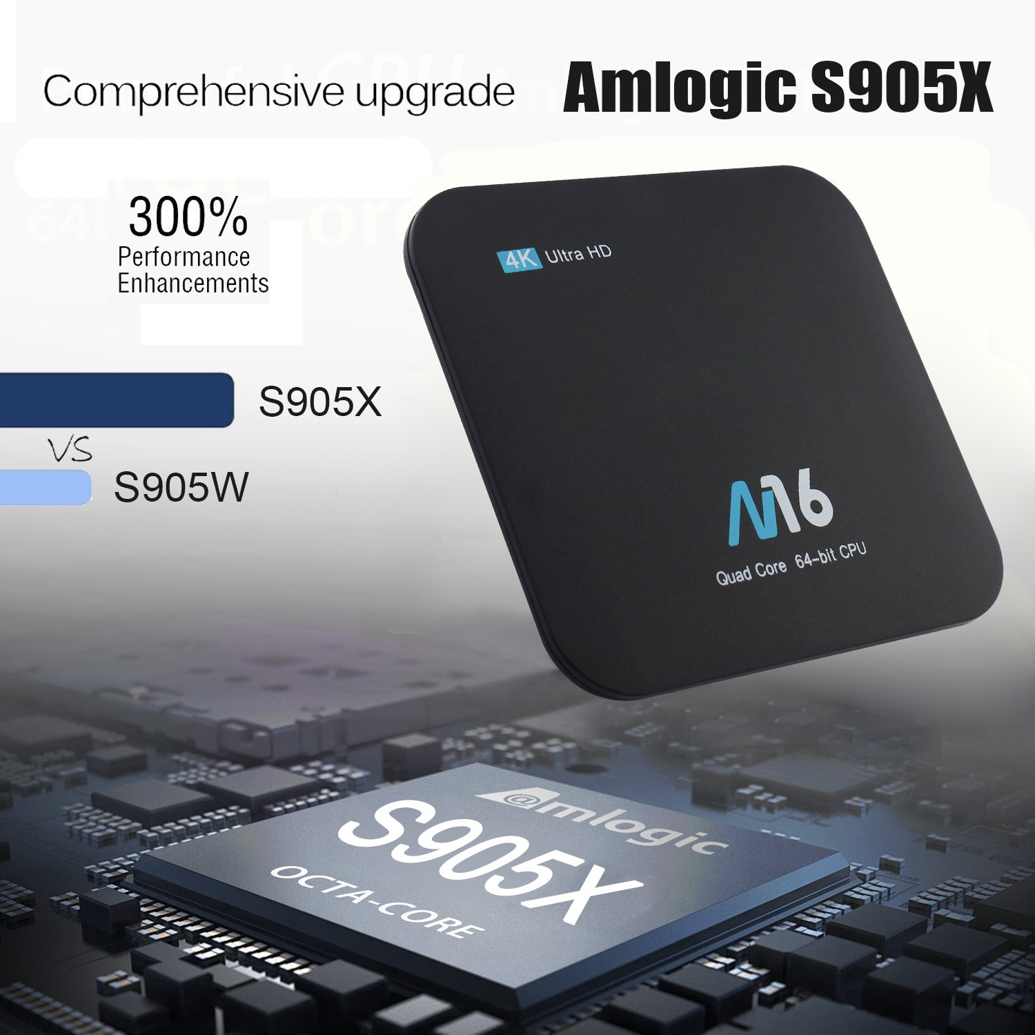 Android TV Box - VIDEN Newest Android 7 1 Smart TV Boxsets, Amlogic S905X  Quad-Core, 2GB RAM & 16GB ROM, 4K @60fps Ultra HD, Support Video Encoder  for