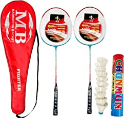 Badminton Combo,Set of 2 alimunium Racket with 1 Full Length Strong Cover and 1 Box chunmun White Feather Shuttle Cock(Pack of 10) Standard Quality shuttles