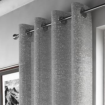 gallery of mirabel pan de rideau style voilage effet scintillant accroche oeillets gris argent l. Black Bedroom Furniture Sets. Home Design Ideas