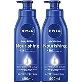 NIVEA Nourishing Body Lotion, Almond Oil & Vitamin E, Extra Dry Skin, 400ml, Pack of 2