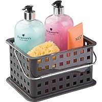 InterDesign Basic corbeille rangement, petit panier salle de bain en plastique pour accessoires de douche et soins, gris…