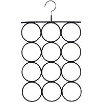 SONGMICS Porte-écharpe, Cintre pour Écharpe, Cravate, Ceinture, Foulard, 12 Anneaux, Noir CRI22B