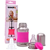 Speedex Stainless Steel Baby Feeding Bottle with Internal ML Marking, Silicon Stopper & Silicon Grip (150 ml) (1 Extra Nipple Free)