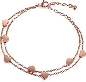 Cupimatch, bracciale da donna con cuore e catena doppia, in argento, oro rosa