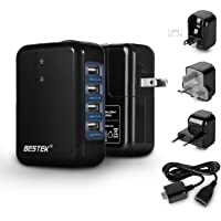 USB Travel Charger, BESTEK 35W 4-Port International Wall Adapter with US/AU/UK/EU Plug for for Apple iPhone iPad…