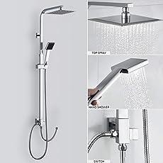 (Duschset ohne Wasserhahn) Duscharmatur Regendusche Duschbrause Duschsystem inkl Handbrause Shower Set, Höhenverstellbar 92~135cm