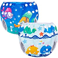 Luxja Riutilizzabile Pannolini da nuoto (Confezione da 2), Costume Pannolino Lavabili, Impermeabile Pannolino Piscina (0…