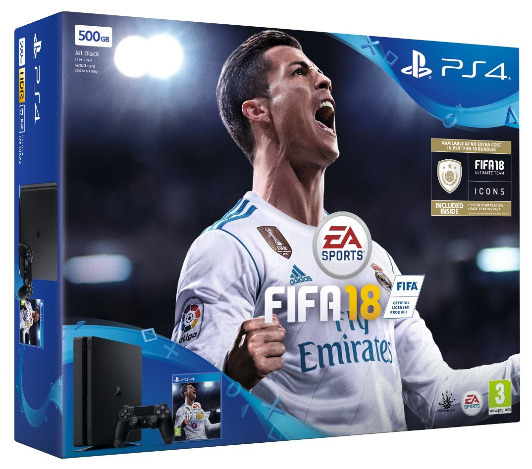 Sony PS4 500 GB FIFA 18 Bundle with FIFA 18 Ultimate Team Icons and Rare Player Pack [Edizione: Regn