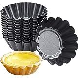 HQdeal 12 Pezzi di Stampi di Crostate di Uova, Pirottini in Acciaio al carbonio,Formine per Muffin, Stampo per Torta Cupcake,