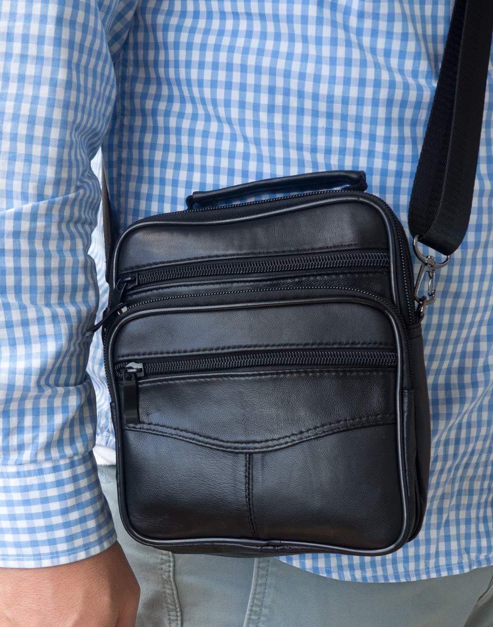 Bolso Bandolera pequeño de Piel auténtica para Hombre, Bolso de Negocios (Negro)
