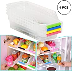 ORPIO (LABLE) Kitchen Refrigerator Food Storage Box Organizer for Fridge Freezer Vegetables and Fruit Storage Container (Pack of 4)