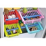 Clazkit Plastic Refrigerator Storage Rack Set, Set of 4, Multicolour