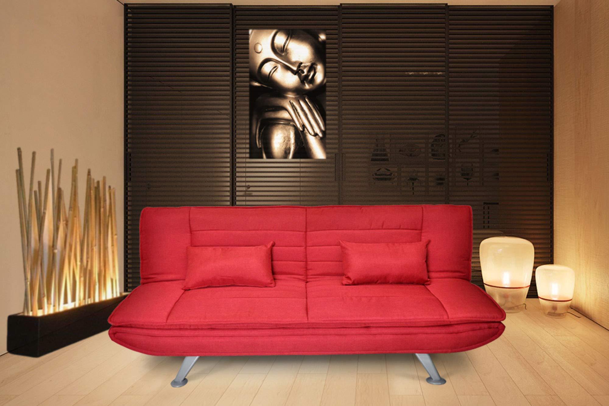 Divano Rosso Cuscini : Divano letto clic clac in tessuto rosso divano 3 posti mod. iris