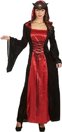 Elbenwald Regina della Notte - Costume da Donna per Travestimento - Vestito con Allacciatura Incrociata Anteriore e Cappuccio - Carnevale e Halloween - Rosso/Nero