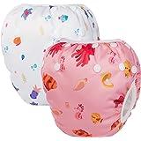 HBselect set da 2 Pannolini da Nuoto Regolabili Costumi da Bagno per Bambini Pannolini Impermeabili Riutilizzabili Costumi Pi
