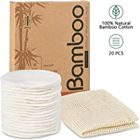 20 Packs Organic Reusable Makeup Remover Pads, Washable Eco-friendly Natural Bamboo Cotton Rounds for all skin types...