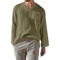 AUDATE Mens Shirts Casual Linen Beach Shirt Long Sleeve Roll Up Collarless Henley Shirt