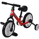 HOMCOM Bicicleta de Equilibrio con Pedales y Ruedas Entrenamiento Extraíbles de Asiento Regulable 33-38cm Niños +24 Meses Car