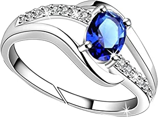 Lady touch Blue Diamond Platinum Plated Silver Ring for Women