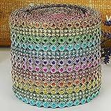 UxradG Diamant, Farbmuster Flower Mesh Kristall Sparkle Band Gürtel für Hochzeit Dekoration Wickeln Glitzer Bling DIY Band