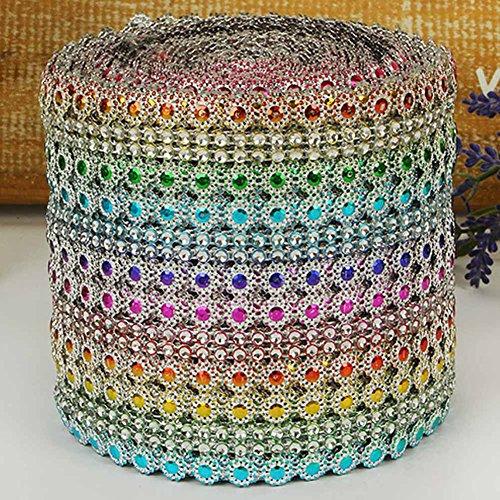 UxradG Diamant, Farbmuster Flower Mesh Kristall Sparkle Band Gürtel für Hochzeit Dekoration Wickeln Glitzer Bling DIY Band (Wire Mesh Band)
