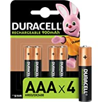 Duracell Piles Rechargeables AAA 900 mAh, lot de 4 piles