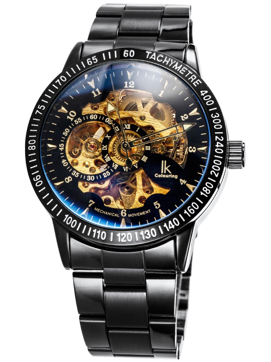 Alienwork IK Skelett Herren Automatik-Uhr mit Metall-Armband Glasboden