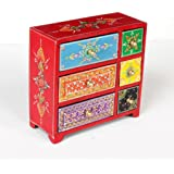Home and Bazaar Wooden Antique finish Traditional Handpainted 3+3 Drawer Chest (8.5x3.5x3.5 Inch)