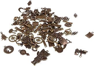 Segolike 100g 70pcs Vintage Assorted Pendants Charms Bracelet Necklace Keyring DIY Findings Jewelry Making Antique Bronze