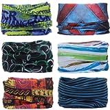 YouGa Headwear Headbands 6PCS Multifunctional Bandana Wide Seamless Magic Scarf Tube Scarf UV Insect Shield Sport Men…