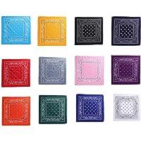 Voarge 12 Pezzi Bandane Multicolori per Cappelli,Bandana per Capelli, Collo,Testa,Sciarpa Fazzoletti da Taschino, 12…