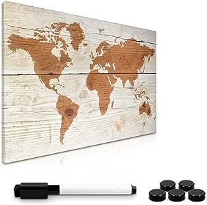 Navaris Memo Board Lavagna Magnetica 40x60cm - Lavagnetta Scrivibile Cancellabile con 1x Pennarello e 5X Calamite - Bacheca Design World Map Vintage