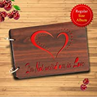Sehaz Artworks Am in Love Wooden Scrapbook Photo Album for Memorable Gift on Boyfriend Girlfriend Husband Wife Spouse Birthdays, Valentines Day, Anniversary, Monthsary for Couples