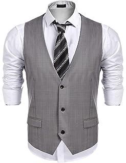 Coofandy Gilet de Costume Homme Veste Mariage Business sans Manche ... baa0d93553a