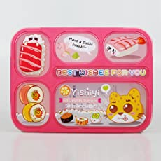 FunBlast Grid Lunch Box for Kids, Leak Proof Lunch Box for School, bento Lunch Box , Available in Different Variants (Pink - 4 Compartment)
