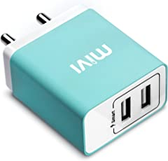 Mivi 3.1A Dual Port Smart Wall Charge Adapter With In-Built Auto-Detect Technology For All Smartphones-Blue