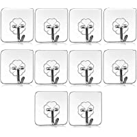 RUTUZ 10Pcs Self Adhesive Wall Hooks, Heavy Duty Sticky Hooks for Hanging 10KG (Max), Waterproof Transparent Adhesive…