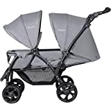 GYMAX Double Seat Stroller with Adjustable Push Handle and Foot Rest, Detachable Canopy, Foldable Baby Pushchair Buggy for Traveling, Going Shopping, Hanging Out