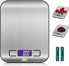Küchenwaage Digitalwaage Professionelle Waage Electronische Waage, Adoric Küchenwaage mit LCD Display-wunderbare Präzision auf bis zu 1g(5kg Maximalgewicht)-Silbrig