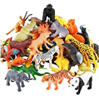 La-La Toys 48pcs Animal Toy Figures- Wild, Farm, Ocean, Dino, Random (48pcs Mix small)