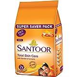 Santoor Sandal & Turmeric Soap for Total Skin Care, 100g (Pack of 4, Super Saver Pack)