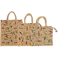 Sainik Jute Shopping Grocery Bag Large, Medium and Small Size Multipurpose Bag Lunch Bag with Zip (Pack of 3)