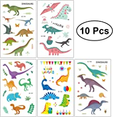 Toyvian 10pcs Dinosaur Temporary Tattoos Waterproof Stickers Party Favors for Boys Girls