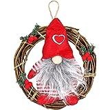 VOSAREA Decorazioni Albero di Natale Forma Corone Natalizie con Gnomo Svedese Peluche Decorazioni Natale da Appendere (Rosso)