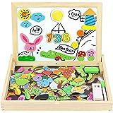 jerryvon Puzzle Magnetico Niños 160 Piezas de Madera Pizarra Magnética Infantil con Rompecabezas Caja Juguete Educativo Puzzl